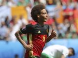 Belgium's Axel Witsel celebrates after scoring his side's second goal during the Euro 2016 Group E soccer match between Belgium and Ireland at the Nouveau Stade in Bordeaux, France, Saturday, June 18, 2016. (ANSA/AP Photo/Petr David Josek)